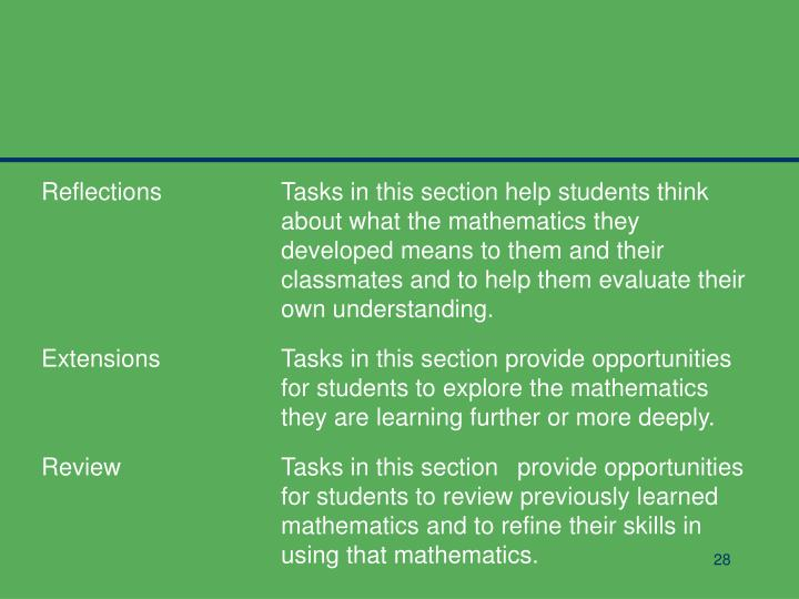 ReflectionsTasks in this section help students think about what the mathematics they developed means to them and their classmates and to help them evaluate their own understanding.