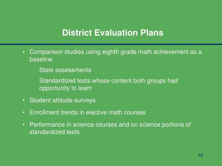 District Evaluation Plans