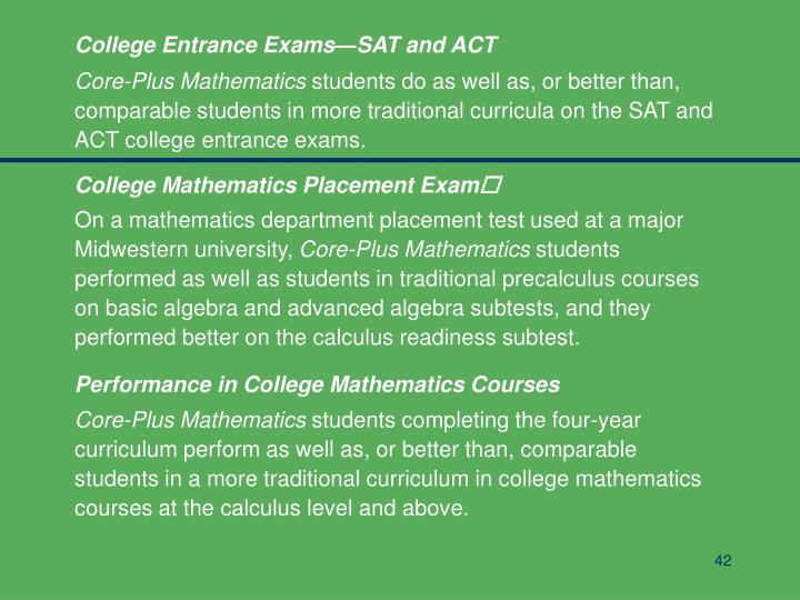 College Entrance Exams—SAT and ACT