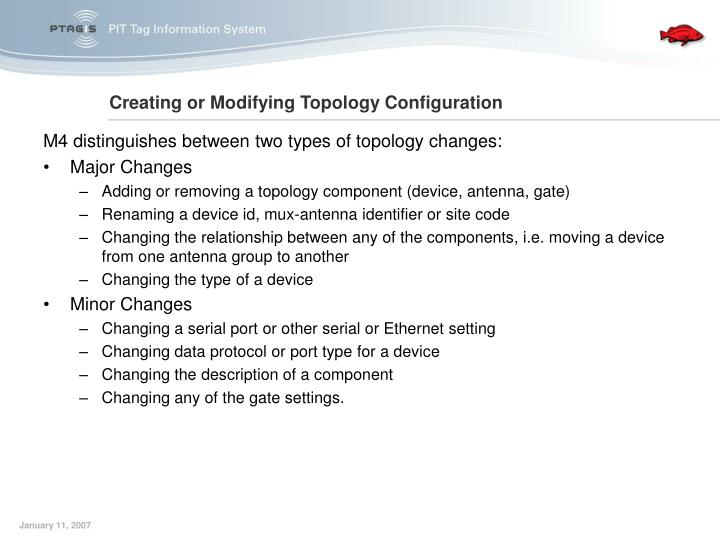 M4 distinguishes between two types of topology changes: