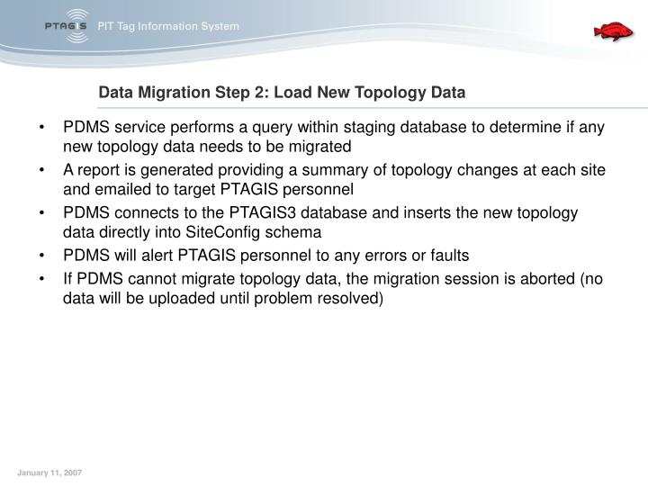 PDMS service performs a query within staging database to determine if any new topology data needs to be migrated