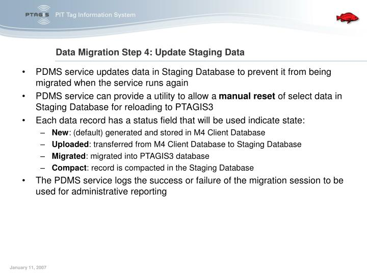 PDMS service updates data in Staging Database to prevent it from being migrated when the service runs again