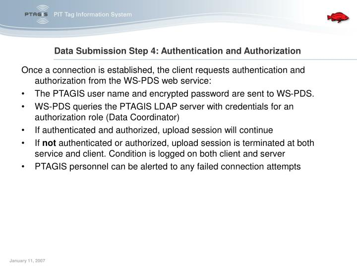 Once a connection is established, the client requests authentication and authorization from the WS-PDS web service: