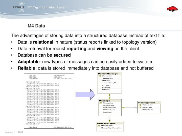 The advantages of storing data into a structured database instead of text file: