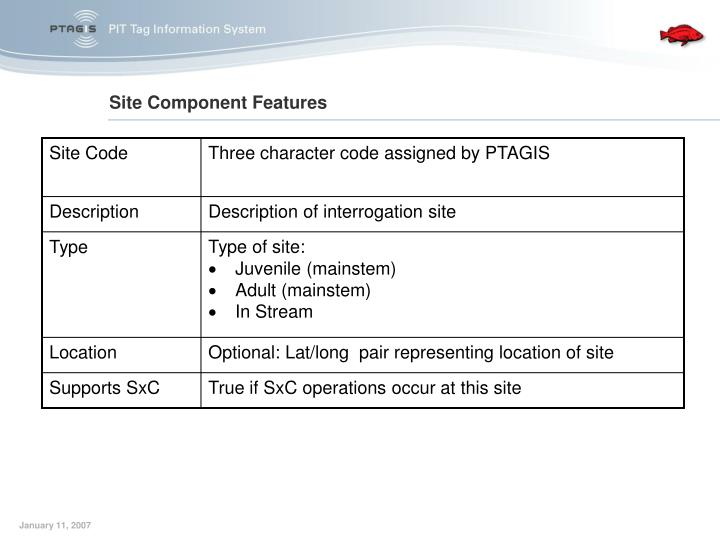 Site Component Features