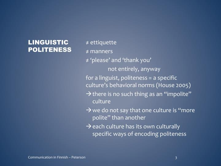 Linguistic politeness