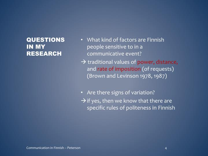 What kind of factors are Finnish people sensitive to in a communicative event?