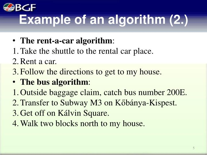 Example of an algorithm (2.)