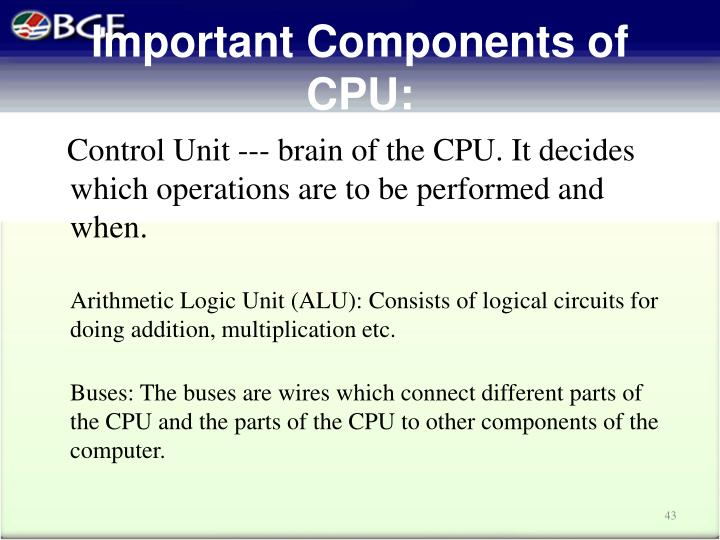 Important Components of CPU: