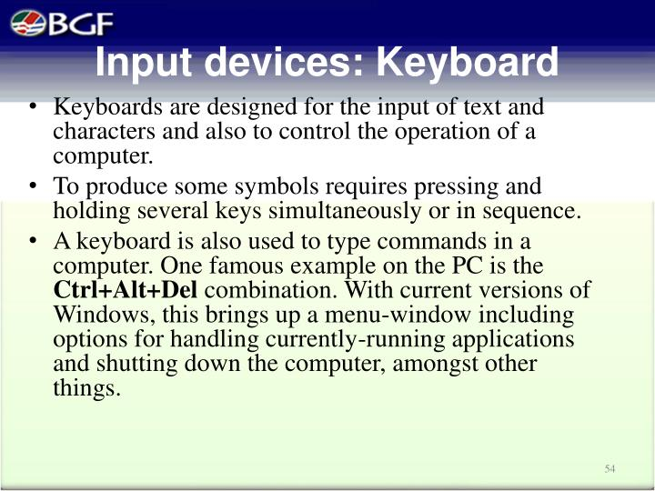 Input devices: Keyboard
