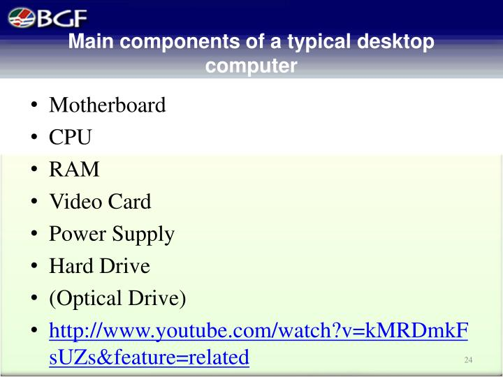 Main components of a typical desktop computer