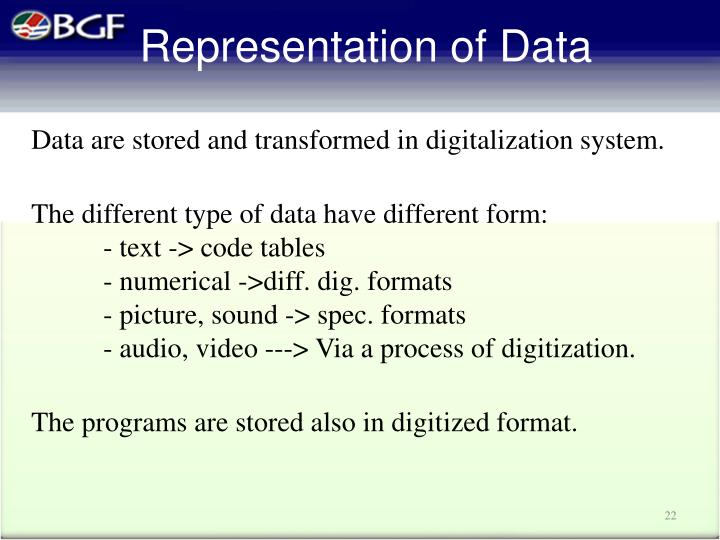 Data are stored and transformed