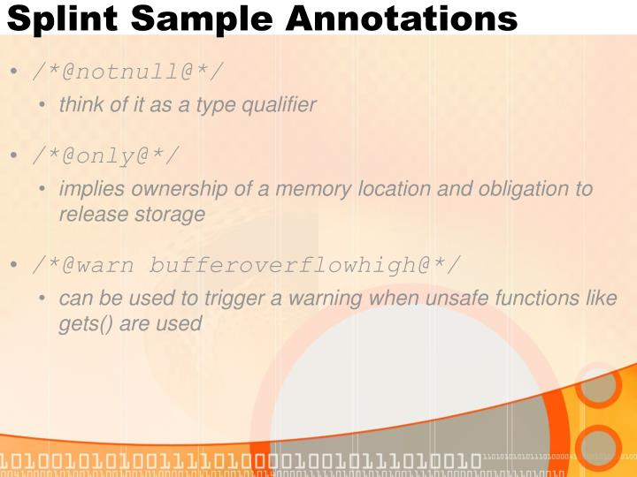 Splint Sample Annotations