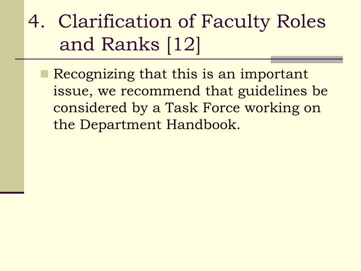 4.  Clarification of Faculty Roles and Ranks [12]