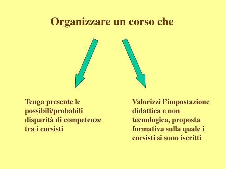 Organizzare un corso che