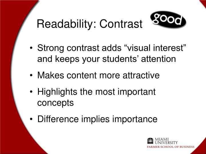 Readability: Contrast