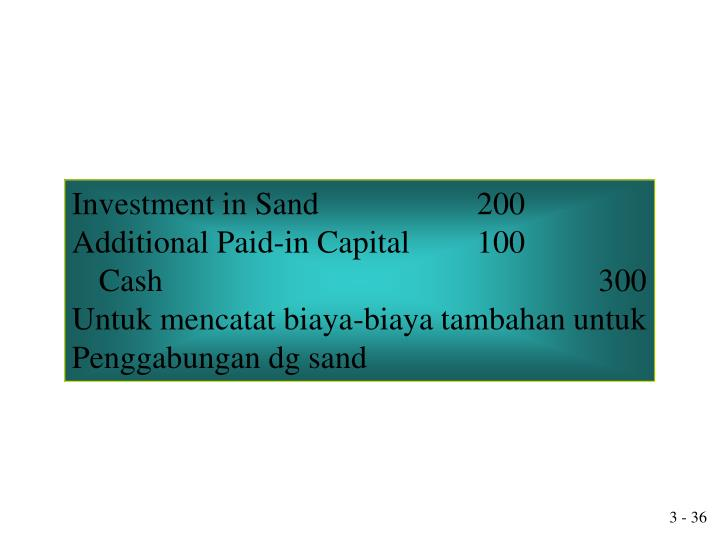 Investment in Sand				200