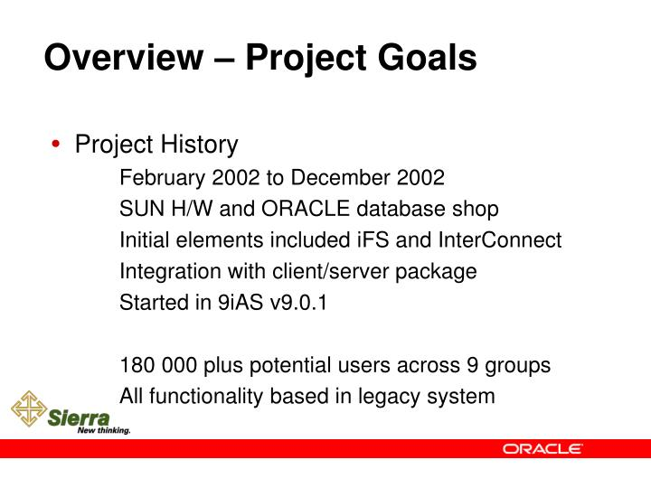 Overview – Project Goals