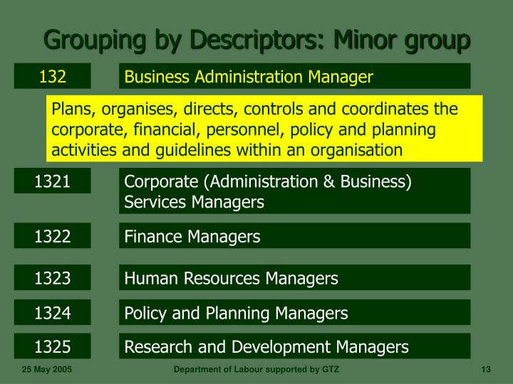 Grouping by Descriptors: Minor group