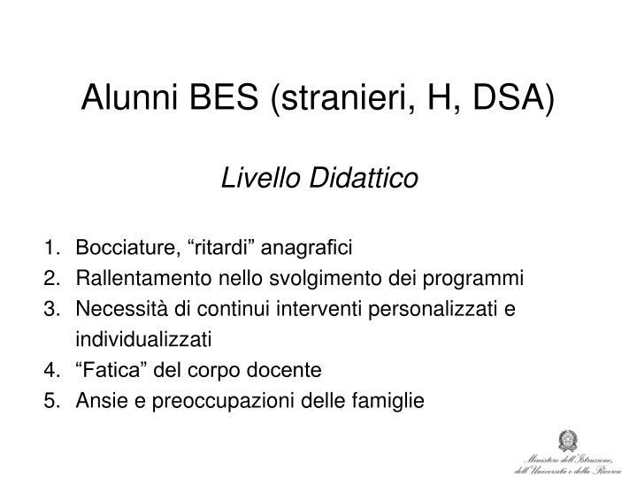 Alunni BES (stranieri, H, DSA)