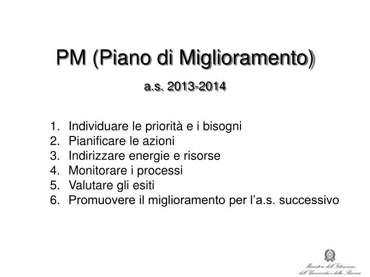 Pm piano di miglioramento a s 2013 2014