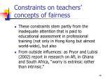 constraints on teachers concepts of fairness