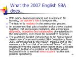 what the 2007 english sba does