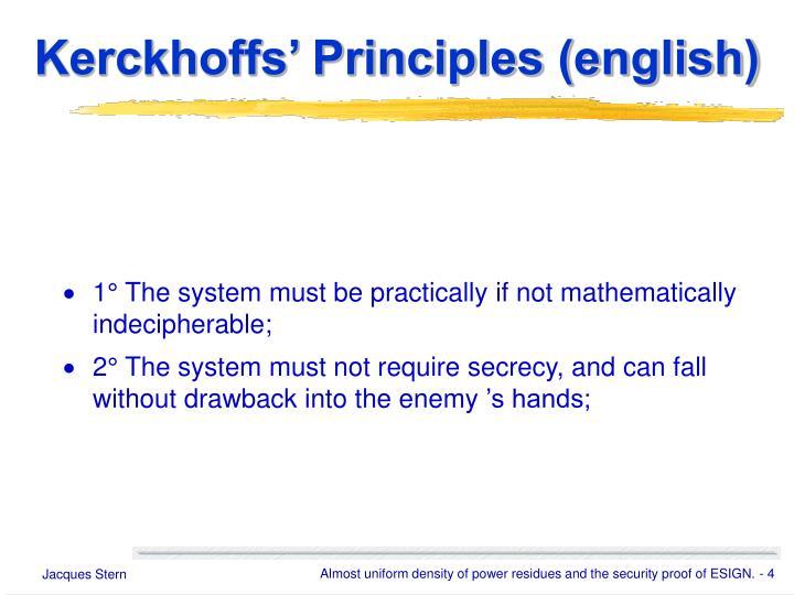 Kerckhoffs' Principles (english)