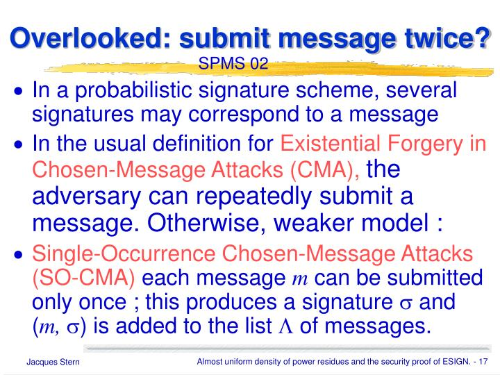Overlooked: submit message twice?
