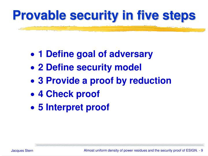 Provable security in five steps