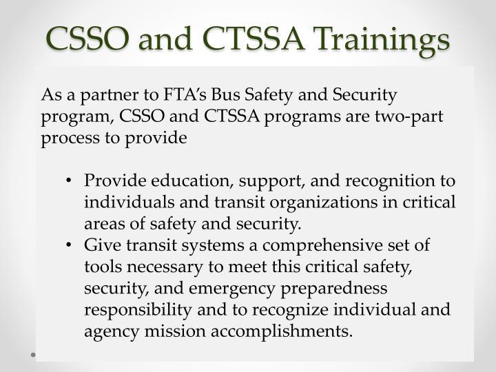 CSSO and CTSSA Trainings