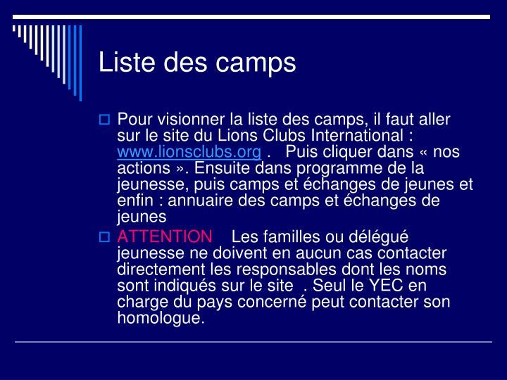 Liste des camps