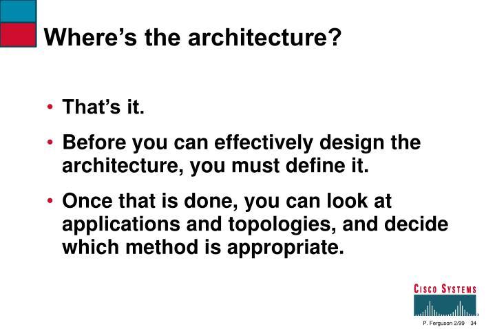 Where's the architecture?