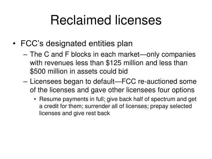 Reclaimed licenses