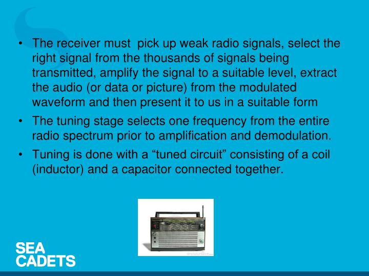 The receiver must  pick up weak radio signals, select the right signal from the thousands of signals being transmitted, amplify the signal to a suitable level, extract the audio (or data or picture) from the modulated waveform and then present it to us in a suitable form