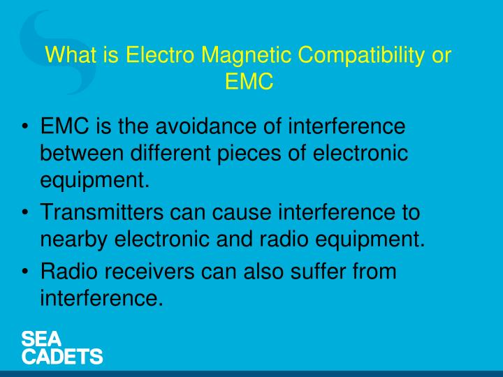 EMC is the avoidance of interference between different pieces of electronic equipment.