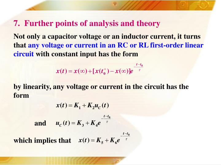 7.  Further points of analysis and theory
