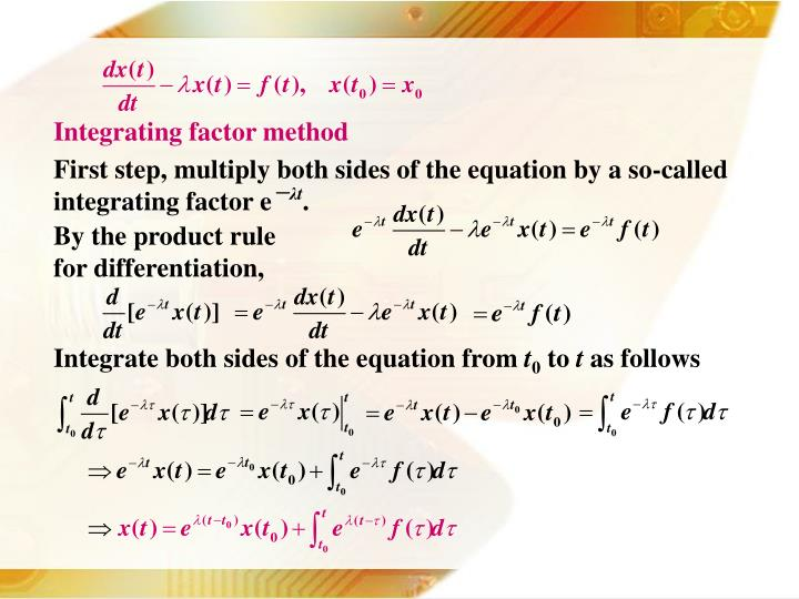 Integrating factor method