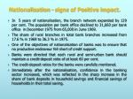 nationalisation signs of positive impact