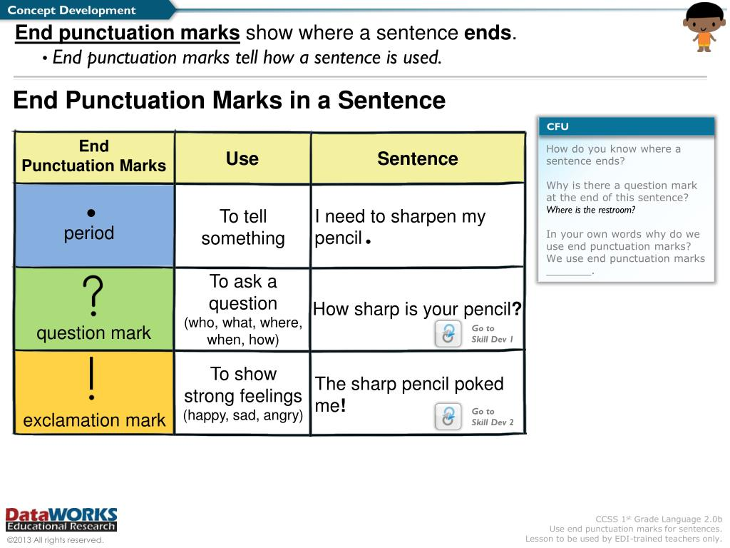 PPT - We will use end punctuation marks for sentences