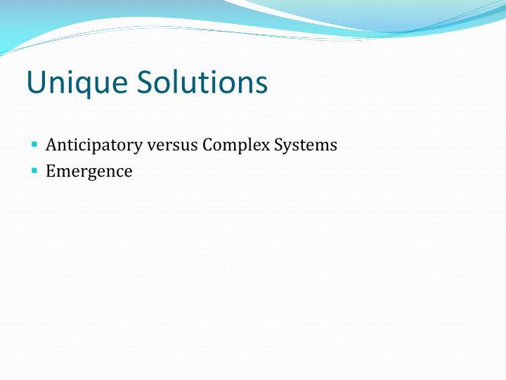 Unique solutions