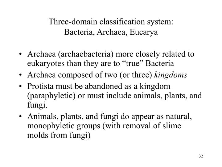 Three-domain classification system: