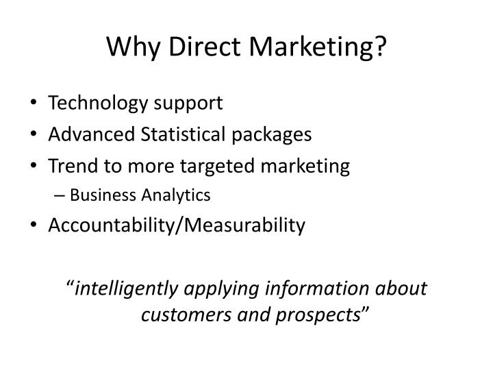 Why direct marketing