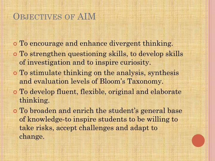 Objectives of aim