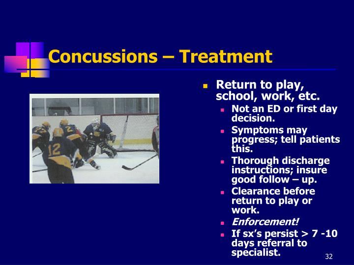 Concussions – Treatment