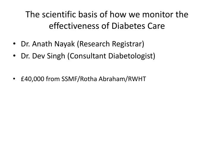 The scientific basis of how we monitor the effectiveness of Diabetes Care