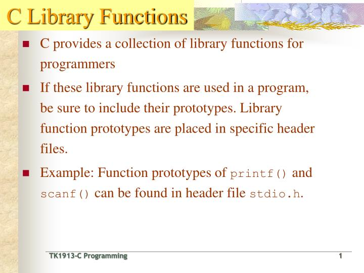 PPT - C Library Functions PowerPoint Presentation - ID:5478657