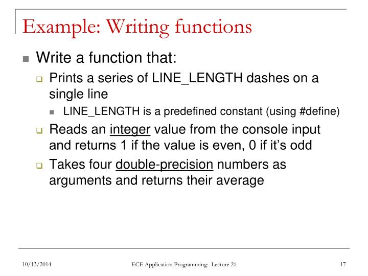 Example: Writing functions