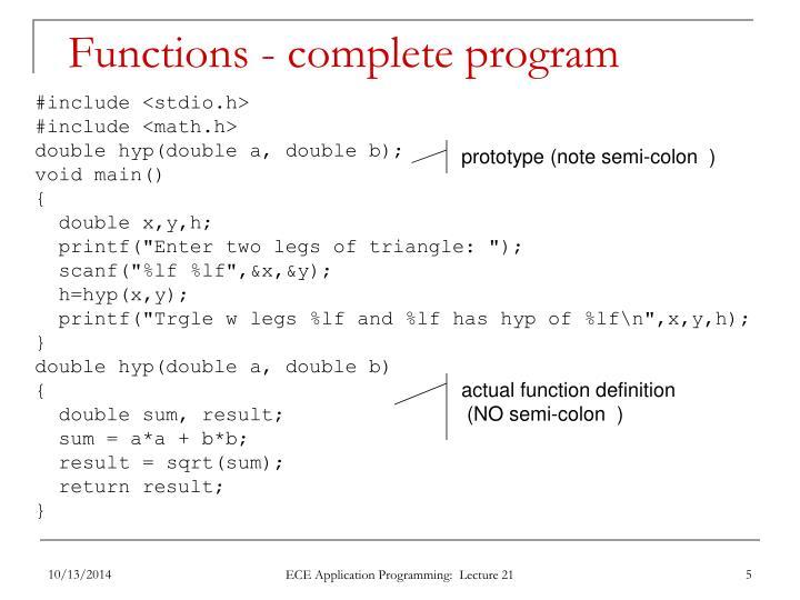 Functions - complete program