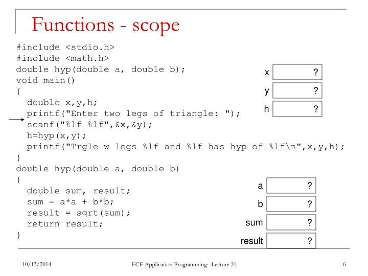 Functions - scope